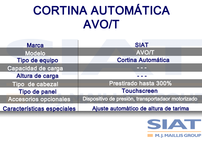 Caracteristicas cortina automática SIAT AVO/T, paletizadora, queretaro