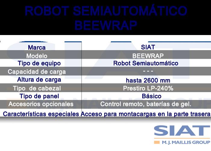 Caracteristicas robot semiautomatico SIAT BeeWrap, paletizadora, Querétaro