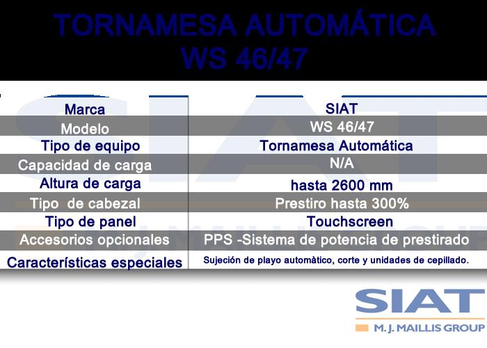 Caracteristicas emplayadora automatica de tornamesa SIAT WS4647, paletizadora, Querétaro