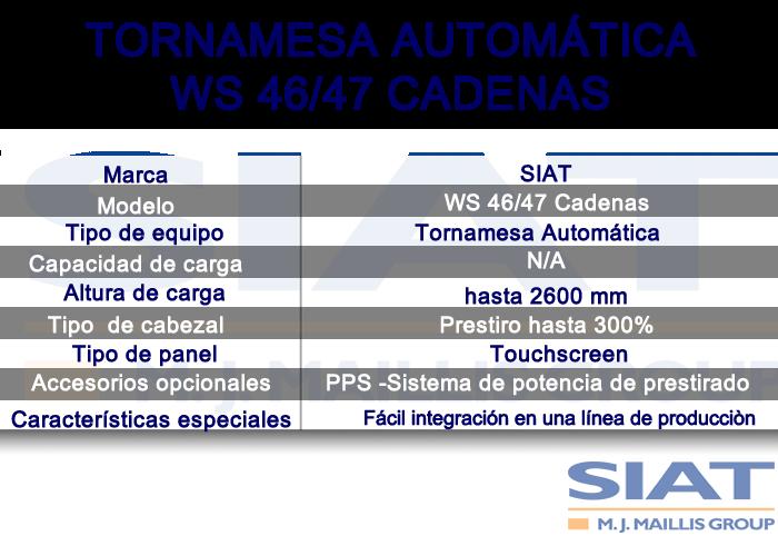 Caracteristicas emplayadora automatica de tornamesa SIAT WS4647 cadenas, paletizadora, Querétaro
