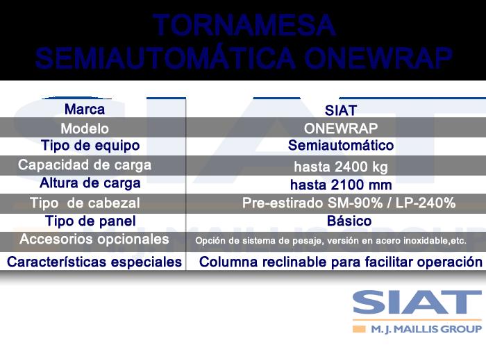 Características Emplayadora Semiautomática SIAT ONEWRAP, Paletizadora, Querétaro