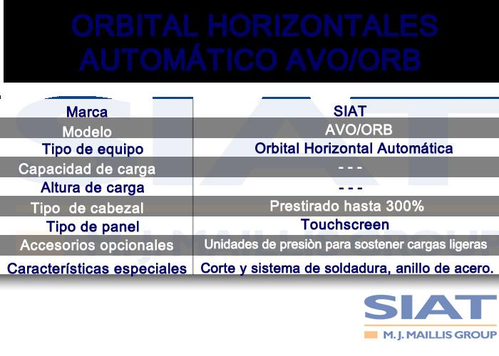 Caracteristicas de emplayadora orbital horizontal automático SIAT AVO/ORB, paletizadoras, querétaro