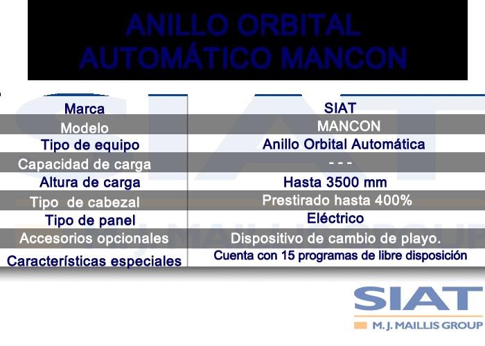 Caracteristicas anillo orbital automático SIAT MANCON, paletizadora, Queretaro