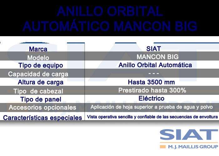 Caracteristicas anillo orbital automático SIAT MANCON BIG, paletizadoras, queretaro
