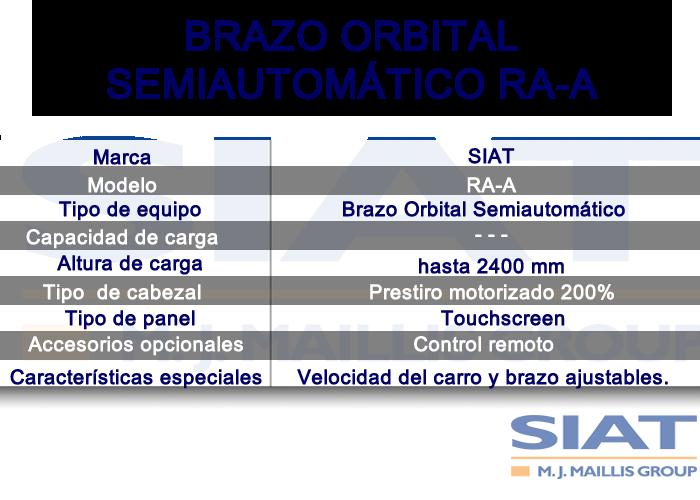 Caracteristicas emplayadora semiautomatica de brazo orbital SIAT RAA, paletizadora, Querétaro