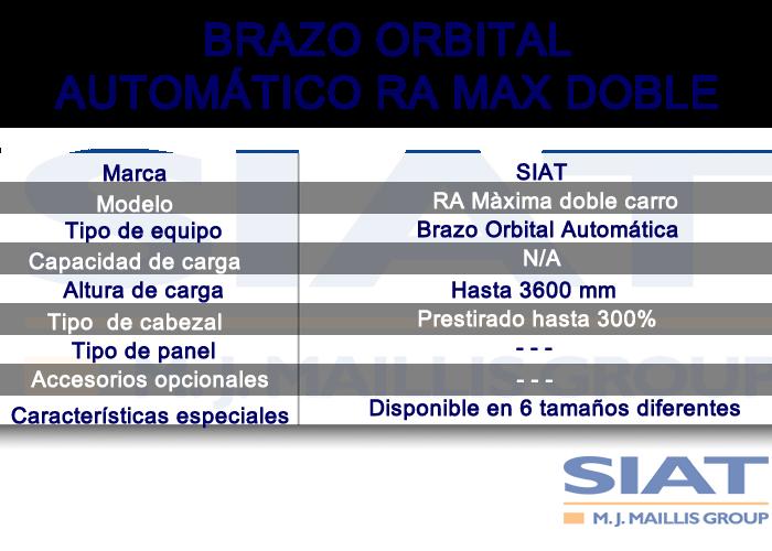 Caracteristicas emplayadora automatica de brazo orbital SIAT RA max doble, paletizadora, Querétaro