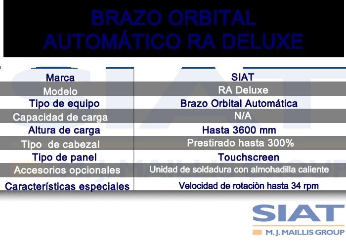 Caracteristicas emplayadora automatica de brazo orbital SIAT RA deluxe, paletizadora, Querétaro