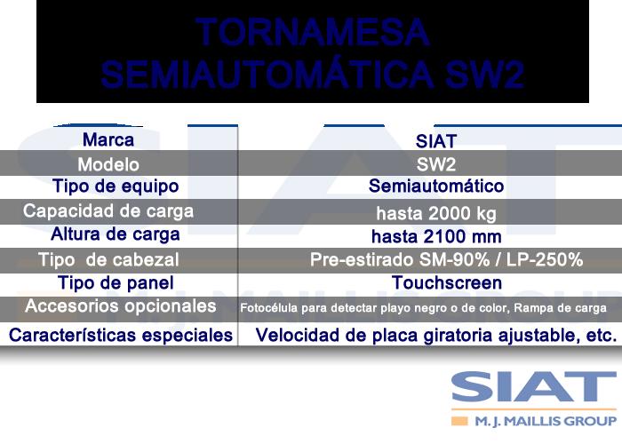 caracteristicas emplayadora semiautomática siat sw2a,Paletizadora, Querétaro