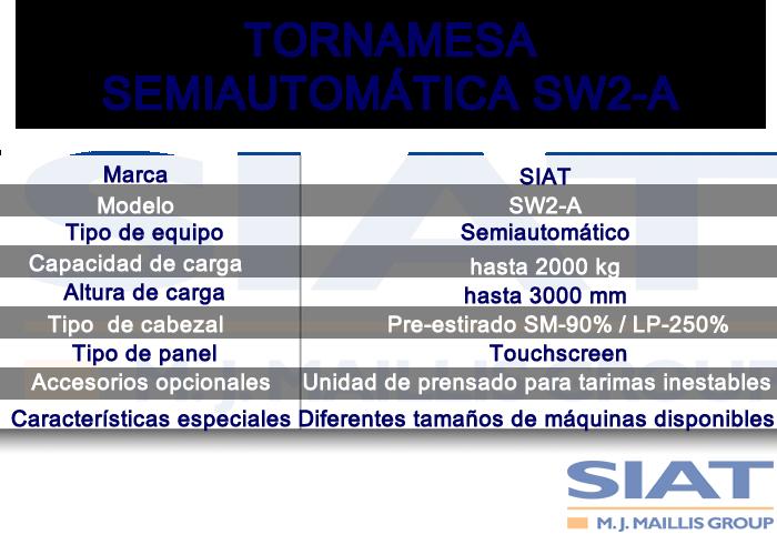 Caracteristicas emplayadora semiautomática de tornamesa SIAT SW2A, paletizadora, Querétaro